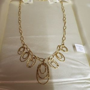 10kt Yellow Gold Hammered Necklace. Italy
